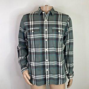 J. CREW Men's Flannel Plaid Green Medium